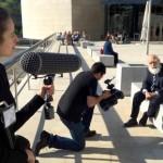 Filming Randi in front of the Guggenheim in Bilbao, Spain